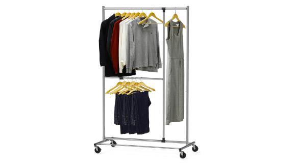 Simple Houseware Dual Bar Adjustable Garment Rack
