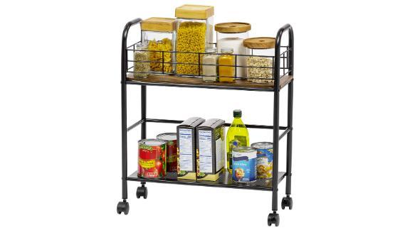 Iris USA Slim Wood and Metal Rolling Storage Cart
