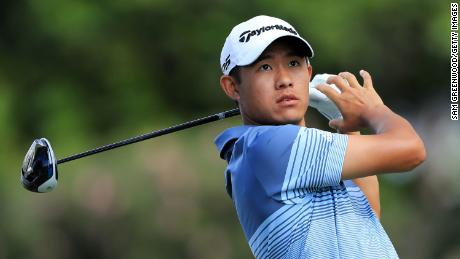 Morikawa plays his shot from the eighth tee during the first round of the Sony Open in Hawaii.