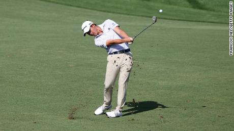 Morikawa plays a shot during day two of the DP World Tour Championship.
