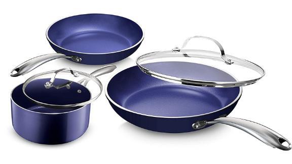 Granite Stone Diamond Blue Pots and Pans 5-Piece Set