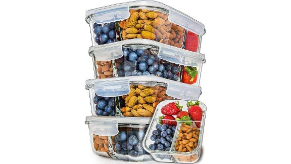 Prep Naturals Glass Meal Prep Containers, Set of 5