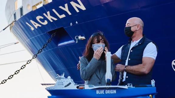 """Bezos <a href=""""https://www.instagram.com/p/CJaEh_NHGUN/"""" target=""""_blank"""" target=""""_blank"""">posted this photo</a> of him and his mother, Jacklyn, after Blue Origin's rocket-catching recovery boat was named in her honor."""