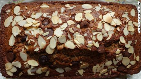 Taub-Dix's pumpkin bread with dark chocolate chips and almonds calls for canned pumpkin.