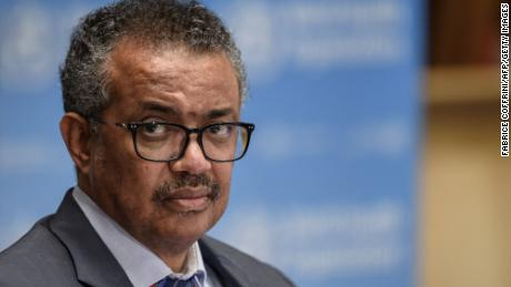 World Health Organization Director-General Tedros Adhanom Ghebreyesus attends a news conference at WHO headquarters in Geneva on July 3, 2020.