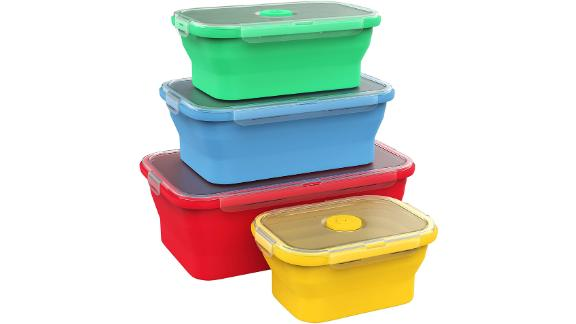 Vremi Silicone Collapsible Food Storage Containers, Set of 4