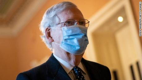 Senate Majority Leader Mitch McConnell arrives at his office on January 6 in Washington, DC.