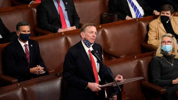 WASHINGTON, DC - JANUARY 06: U.S. Sen. Paul Gosar (R-AZ) speaks on the floor of the House Chamber during a joint session of congress on January 06, 2021 in Washington, DC. Congress held a joint session today to ratify President-elect Joe Biden's 306-232 Electoral College win over President Donald Trump. A group of Republican senators said they would reject the Electoral College votes of several states unless Congress appointed a commission to audit the election results. (Photo by Drew Angerer/Getty Images)