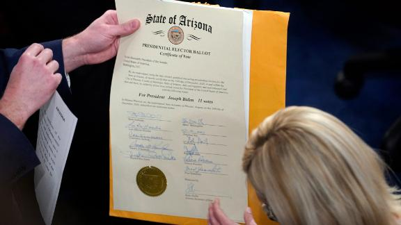 The certification of Arizona's Electoral College votes is unsealed during the joint session of Congress.