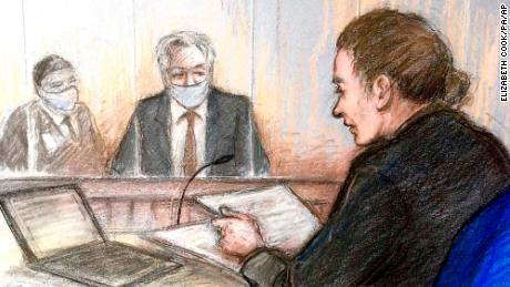 Court artist sketch shows Julian Assange at Westminster Magistrates Court in London on Wednesday, January 6, 2021.