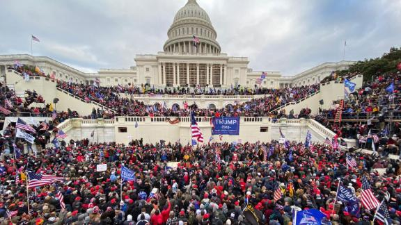 Trump supporters gather outside the Capitol.
