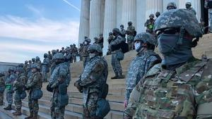 "WASHINGTON, UNITED STATES- National Guard troops deployed to the Lincoln Memorial on the eighth day of protests in Washington DC, United States on June 2, 2020. Protests continue for the death of George Floyd at the hands of a policeman in Minnesota last Monday (25). Several people pointed out that in that same place Martin Luther King Jr. gave his ""I have a dream"" speech in 1963."