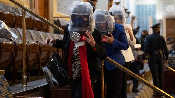 US Reps. Lucille Roybal-Allard and Annie Kuster take cover while rioters were in the Capitol.