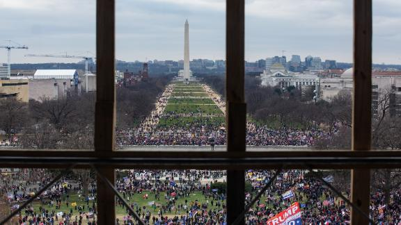 A crowd of Trump supporters can be seen from inside the Capitol.