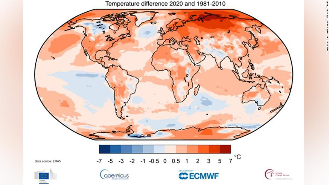 Global temperature data shows that 2020 was tied for the hottest year on record, according to the Copernicus Climate Service and other monitors.