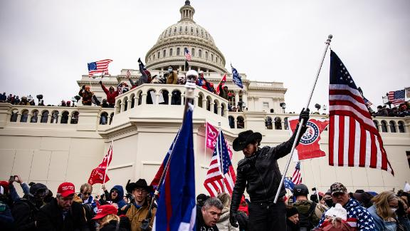 Pro-Trump supporters storm the U.S. Capitol following a rally with President Donald Trump on January 6, 2021 in Washington, DC. Trump supporters gathered in the nation