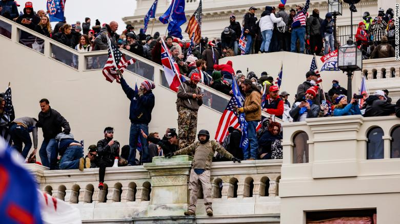 Pro-Trump supporters storm the US Capitol following a rally with President Donald Trump on January 6.