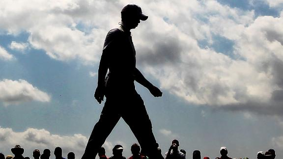 AUGUSTA, GA - APRIL 08:  Tiger Woods walks off the first tee during the second round of the 2011 Masters Tournament at Augusta National Golf Club on April 8, 2011 in Augusta, Georgia.  (Photo by Jamie Squire/Getty Images)