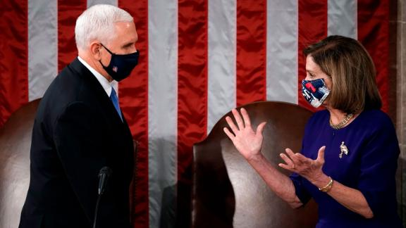 Pence and House Speaker Nancy Pelosi officiate a joint session of Congress in January 2021. Congress was meeting to count and certify Electoral College votes before the US Capitol was breached by pro-Trump rioters.
