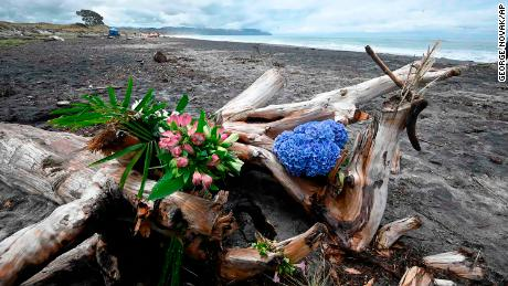 Flowers are placed on a beach following a shark attack at Bowentown near Waihi in New Zealand, Friday, Jan 8, 2021. A woman has died Thursday, Jan. 7, in what appears to be New Zealand's first fatal shark attack in eight years, police say. (George Novak/Bay of Plenty Times via AP)