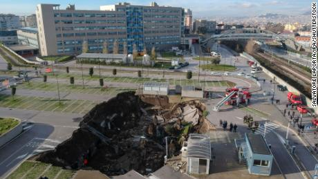 Huge sinkhole opens up outside Italian hospital, forcing evacuation of Covid patients
