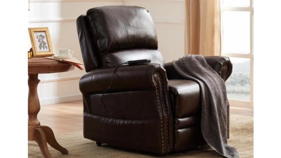 Merax Brown PU Leather Power Lift Recliner Chair