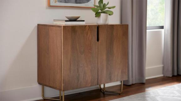 Home Decorators Collection Haze Oak Finish Wood Cabinet With Brass Finish Metal Base