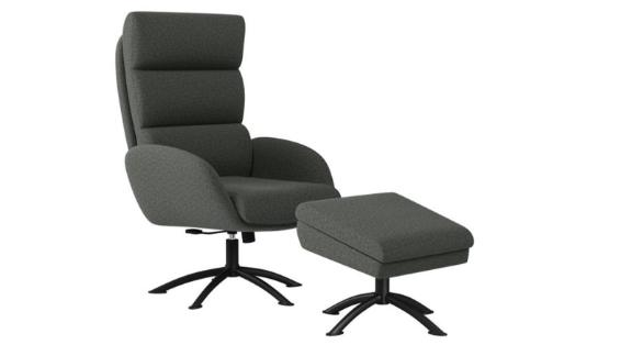 Sophitza Tweed Swivel Rocker Chair and Storage Ottoman