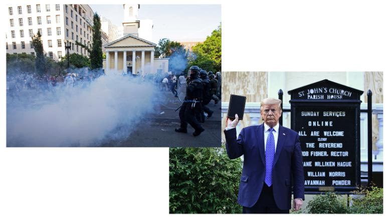 Left: Police officers push back demonstrators and shoot tear gas next to St. John's Episcopal Church outside of the White House on June 1, 2020. (Jose Luis Magana/AFP/Getty Images) Right: President Donald Trump holds up a Bible outside the church, minutes later. (Brendan Smialowski/AFP/Getty Images)