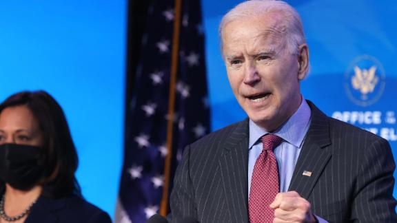 President-elect Joe Biden delivers remarks after he announced cabinet nominees that will round out his economic team, including secretaries of commerce and labor, at The Queen theater on January 08, 2021 in Wilmington, Delaware.