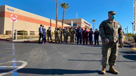 Maj. Dwight Christensen, shown here with other medics from the California National Guard, said he was overwhelmed when he first set foot in St. Mary Medical Center.