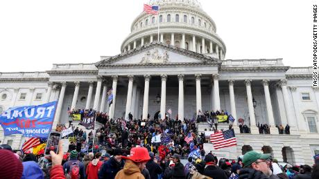 Trump supporters outside the US Capitol in Washington, DC, on January 6, 2021.