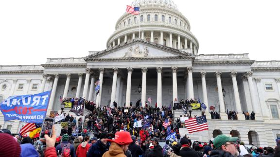 Trump supporters gather on the U.S. Capitol Building on January 06, 2021 in Washington, DC.