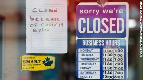 Toronto storefronts are closed amid a second wave of Covid-19 cases.