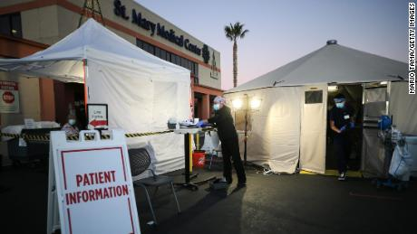 Triage tents were set up outside St. Mary Medical Center in response to the pandemic.