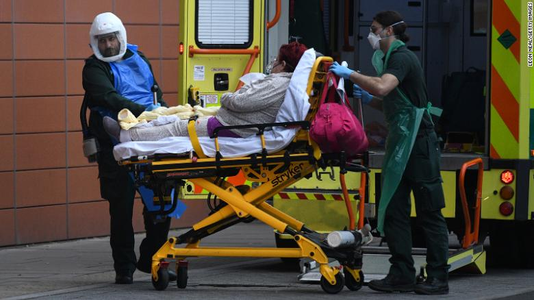 A patient arrives by ambulance at the Royal London hospital on January 8, 2021 in London, England.
