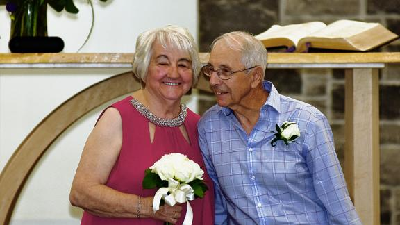 Fred Paul and Florence Harvey on their wedding day, August 8, 2020.