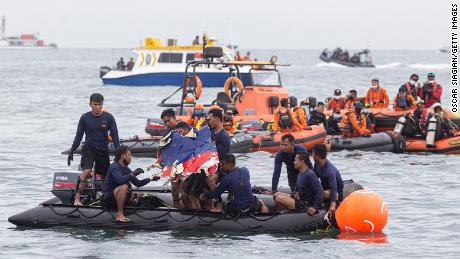 Indonesian rescue teams find part of a Sriwijaya airplane on January 10, 2021 near Jakarta, Indonesia.