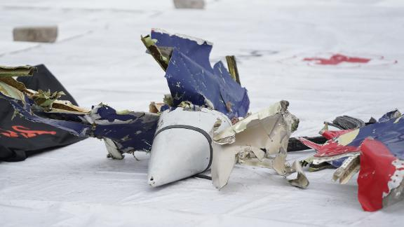 Debris recovered from the crash site is seen at the Tanjung Priok port.