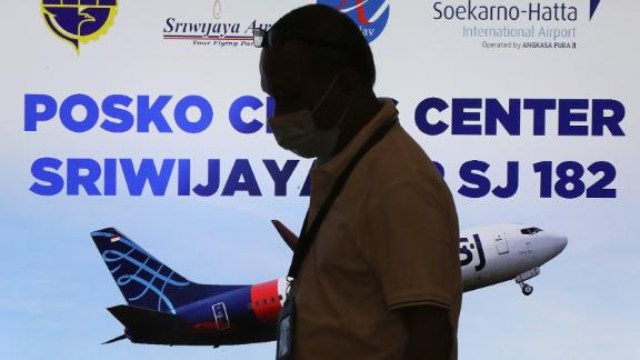 A person walks past the crisis center at the Soekarno-Hatta International Airport.
