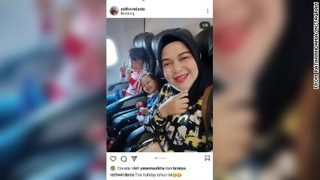 Ratih Windania posted this cheerful selfie with her daughter Yumna, 2, and nephew Athar Rizki Riawan, 8, on a flight from Bandung in West Java on December 22.
