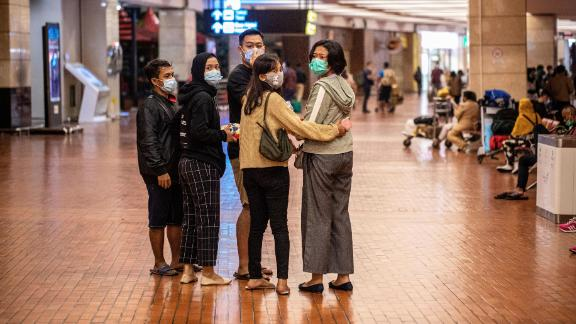 Passengers' family members visit the crisis center at Soekarno-Hatta International Airport.