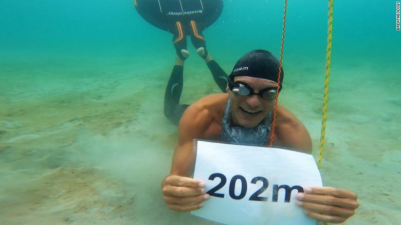 Take a deep breath…freediver swims 662 feet underwater