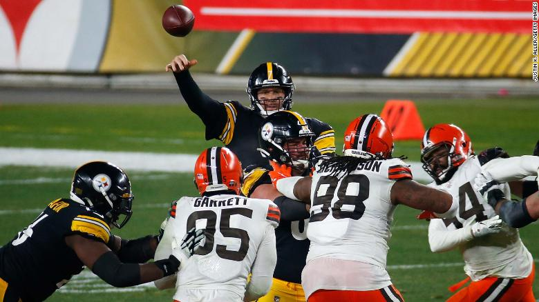 Roethlisberger throws a pass during the second half against the  Browns.