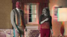"(From left) Paul Bettany and Elizabeth Olsen are shown in a scene from ""WandaVision."""