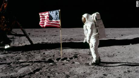 NASA astronaut Buzz Aldrin is shown with the US flag on the lunar surface during the Apollo 11 mission July 20, 1969. The US One Small Step to Protect Human Heritage in Space Act became law December 31, 2020.