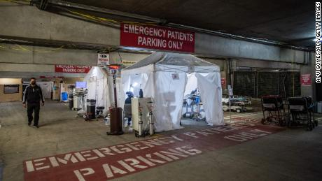 A parking garage doubles as a temporary emergency room at Providence Cedars-Sinai Tarzana Medical Center in Tarzana, California.