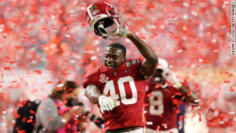Joshua McMillon of Alabama celebrates his team's victory in  the College Football Playoff National Championship in January.