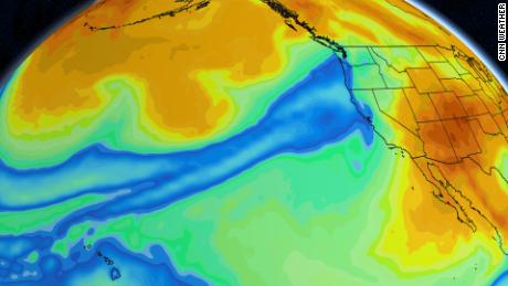 Forecast models show the moisture - shown in blue - stretching thousands of miles.