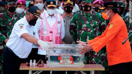 The flight data recorder of Sriwijaya Air flight 182 retrieved from the Java Sea where the passenger jet crashed on January 12, 2021.